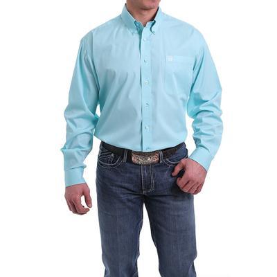 Cinch Mens Solid Light Blue Button- Down