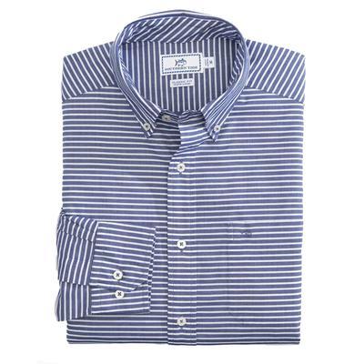 Southern Tide Mens White Striped Button Down Shirt