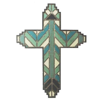 Wooden Stained Glass Design Cross