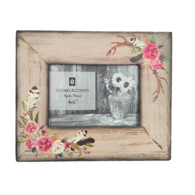 4 x 6 Rose/ Antler Bohemian Picture Frame