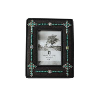 4 x 6 Turquoise Jeweled Crosses Picture Frame
