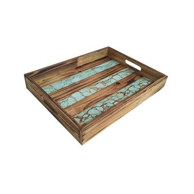 Rustic Wood Tray With Turquoise Inlay