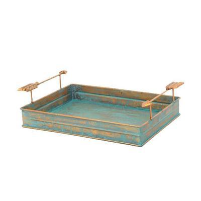 Turquoise Patina Metal tray