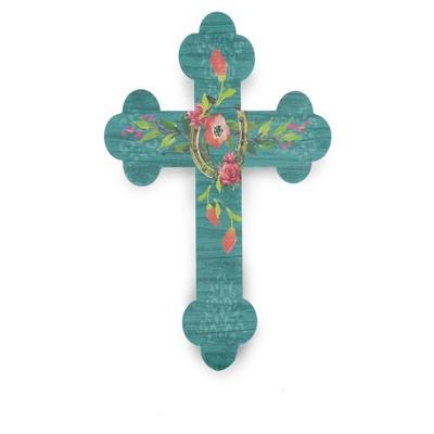 Turquoise Floral Horseshoe Cross