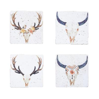 4- Pc Desert Skull Bohemian Coaster Set