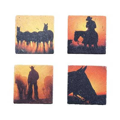 4-PC Cowboy Sunset Coasters