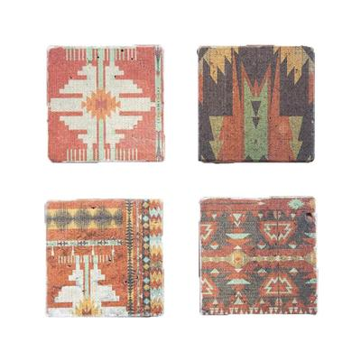 4- Pc Southwestern Aztec Coaster Set