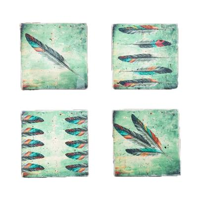 4-PC Tossed Feather Coaster Set