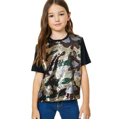 Hayden Girls Camo Sequin T-Shirt