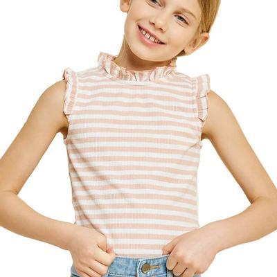 Hayden Girls Stripe Ruffle Mock Neck Tank top