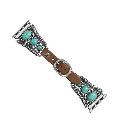 Turquoise & Leather Rectangle Watch Band- 42-44mm