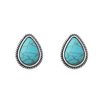 Teardrop Turquoise Inlay Stud Earrings