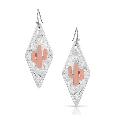 Montana Silversmiths Two Tone Diamond Cactus Earrings