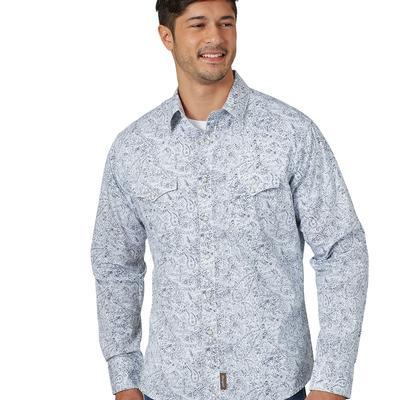Wrangler Men's Retro White Paisley Snap Shirt
