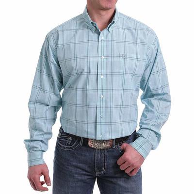 Cinch Men's Light Blue Plaid Button Shirt