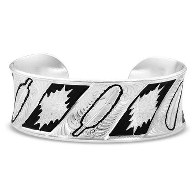Montana Silversmiths Be Fearless Feather Pattern Cuff Bracelet