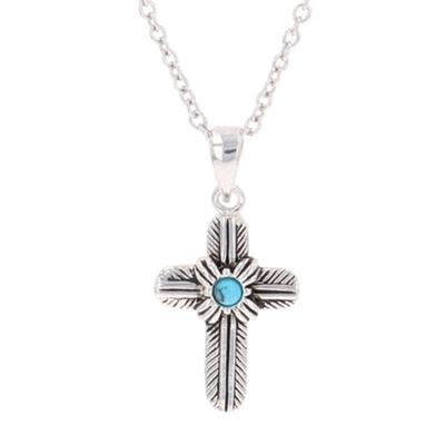 Montana Silversmiths Feathered Cross Turquoise Center Necklace