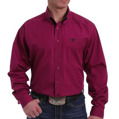 Cinch Men's Solid Burgundy Button Down Shirt