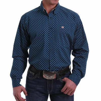 Cinch Men's Navy Diamond Button Down Shirt
