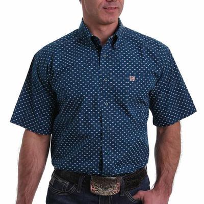 Cinch Men's Navy Diamond Short Sleeve Button Down Shirt