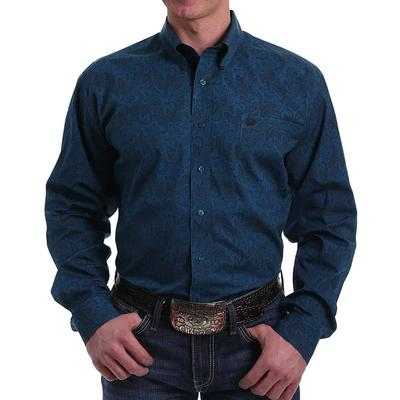 Cinch Men's Navy Paisley Print Button- Down Shirt