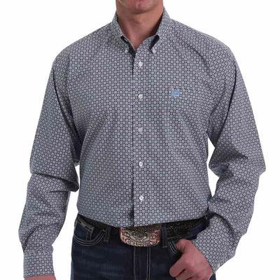 Cinch Men's White & Blue Floral Geometric Button- Down Shirt