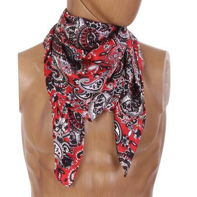 Red & Black Paisley Silk Wild Rag