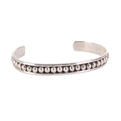 Sterling Silver Small Bead Cuff