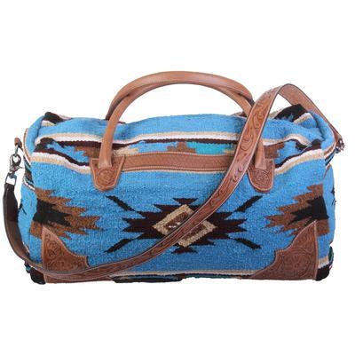 Large Tooled Leather & Rug Duffel Bag