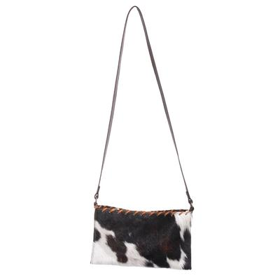 Hair On Clutch With Leather Lace Trim