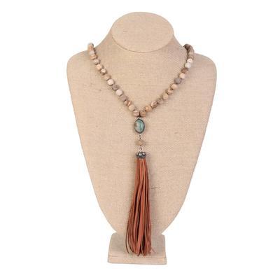 Bridget Stone & Fringe Necklace