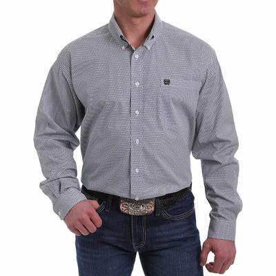 Cinch Men's Printed White Cotton Weave Button Down Shirt