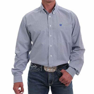 Cinch Men's Printed Blue Circle Button Down Shirt