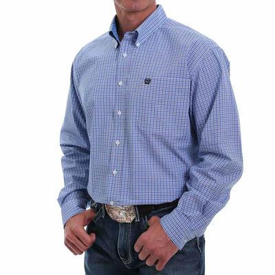 Cinch Men's Royal Blue Checkered Button Down