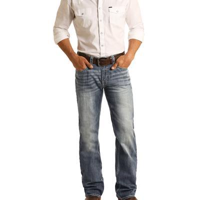 Rock & Roll Men's Double Barrel Straight Medium Wash Jean