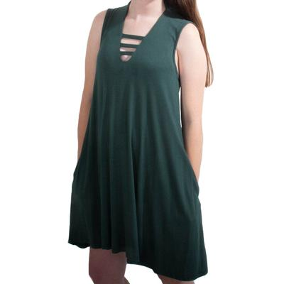 Women's V-Neck Dress with Vertical Bands