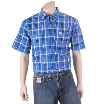 Cinch Men's Blue Plaid Short Sleeve Button Down