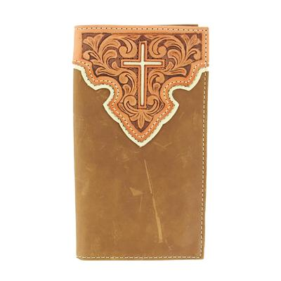 Nocona Men's Brown Cross Leather Wallet