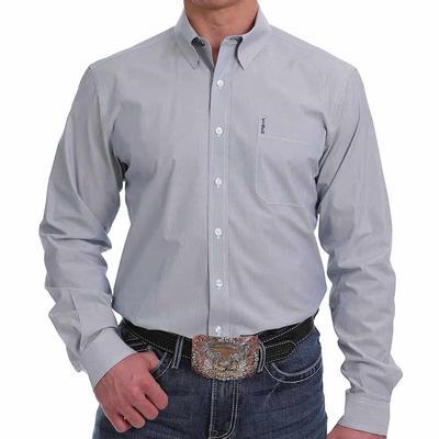 Cinch Men's Navy & White Striped Button Down Shirt