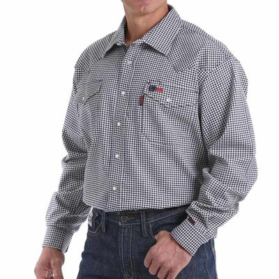 Cinch Men's Navy & Khaki FR Western Snap Shirt