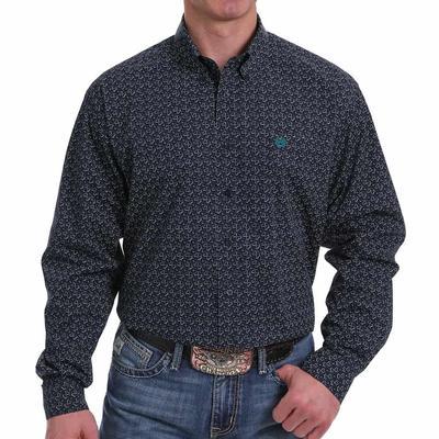 Cinch Men's Navy & Teal Geometric Button Down Shirt Long Sleeve