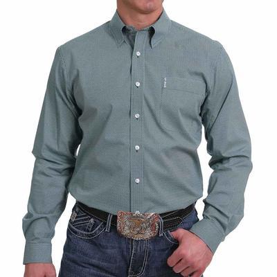 Cinch Men's Teal Geometric Button Down Shirt