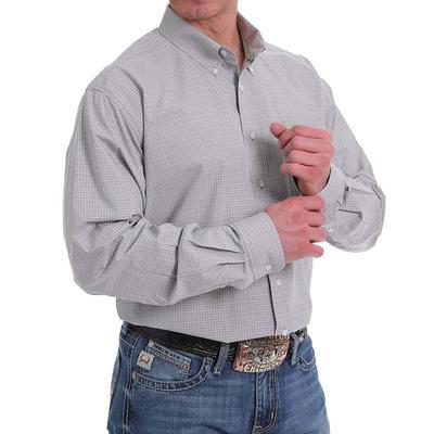 Cinch Men's Grey & Green Windowpane Western Shirt