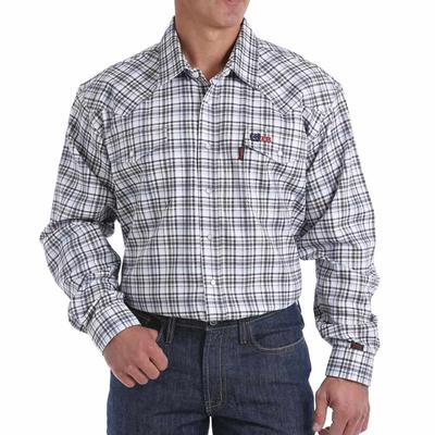 Cinch Men's FR Khaki Plaid Western Snap