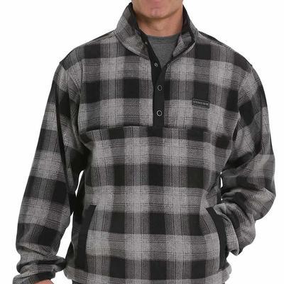 Cinch Men's Charcoal Plaid Fleece Pullover