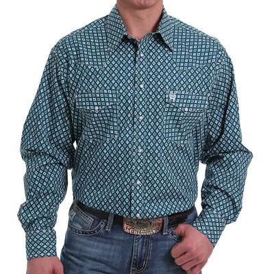 Cinch Men's Classic Fit Teal & Grey Southwest Snap Shirt