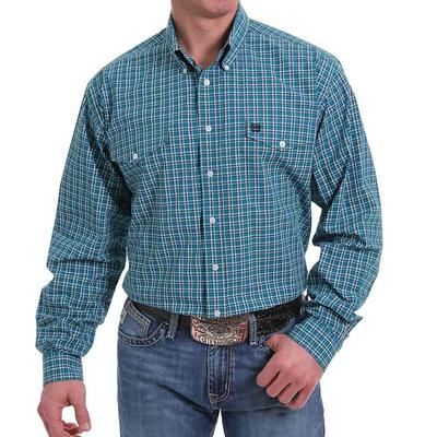 Cinch Men's Plaid Button Down Western Shirt In Teal & White