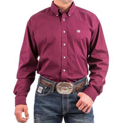 Cinch Men's Solid Burgundy White Button Shirt
