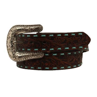 Ladies 1.5 inch Tool & Turquoise Buck Stitch Belt