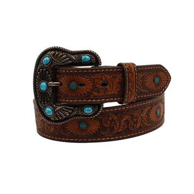 Ladies Tooled Turquoise Detail Belt